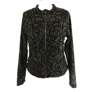 Fabletics Womens Paola Puffer Jacket Black Floral
